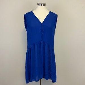Sandro Blue Oversized High Low Mini Dress Sz S (1)